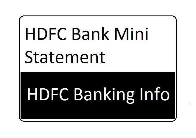 HDFC Bank Mini Statement